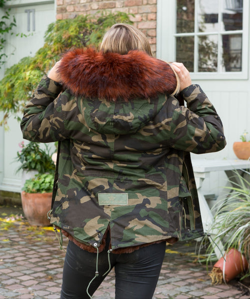 Ladies Real Look Camo Faux Fur Parka with Chocolate Brown Faux Fur
