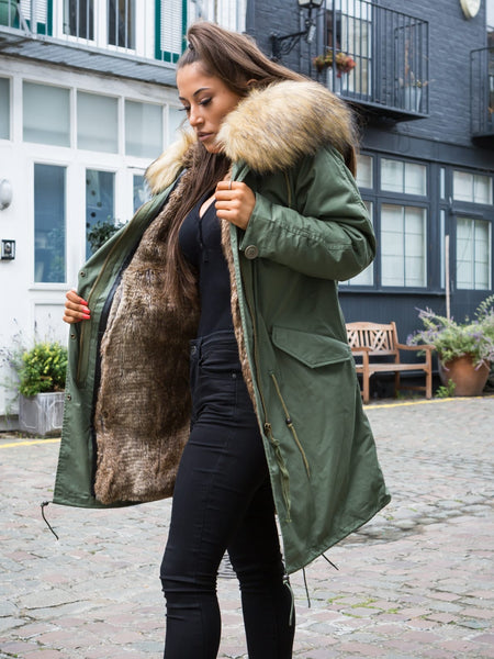 Sale Ladies Real Look Faux Fur Collar Parka Jacket with Natural Faux Fur 3/4