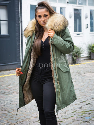 Ladies Luxury Collar Parka Jacket in Natural 3/4