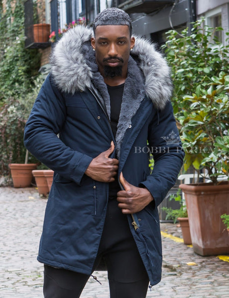 Mens Real Look Faux Fur Collar Parka Jacket with Grey Faux Fur Lining 3/4