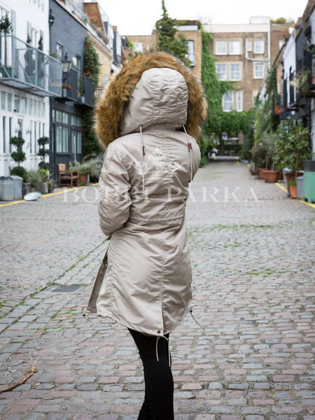 Ladies Real Look Faux Fur Collar Beige Parka Jacket with Natural Faux Fur 3/4