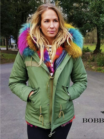 Ladies Luxury Collar Parka Jacket with Multi Coloured Collar