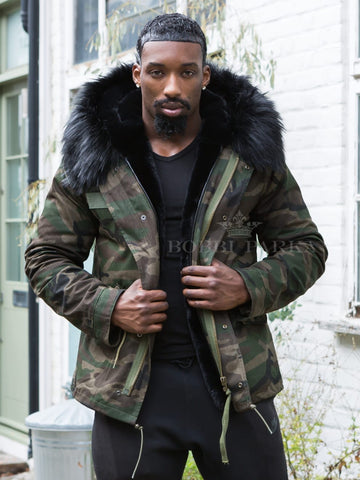 Mens Real Look Faux Fur Collar Parka Jacket Camo with Black Faux Fur Lining