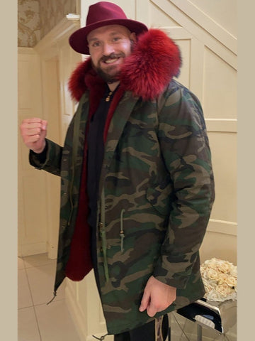 Mens Camo Faux Fur Collar Parka Jacket with Red Faux Fur 3/4