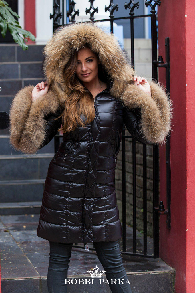 f8166f574 The Angel Long Black Quilted Down Coat in Natural