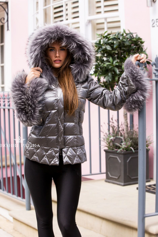 Silver Quilted Down Jacket Oversized Fur Hood