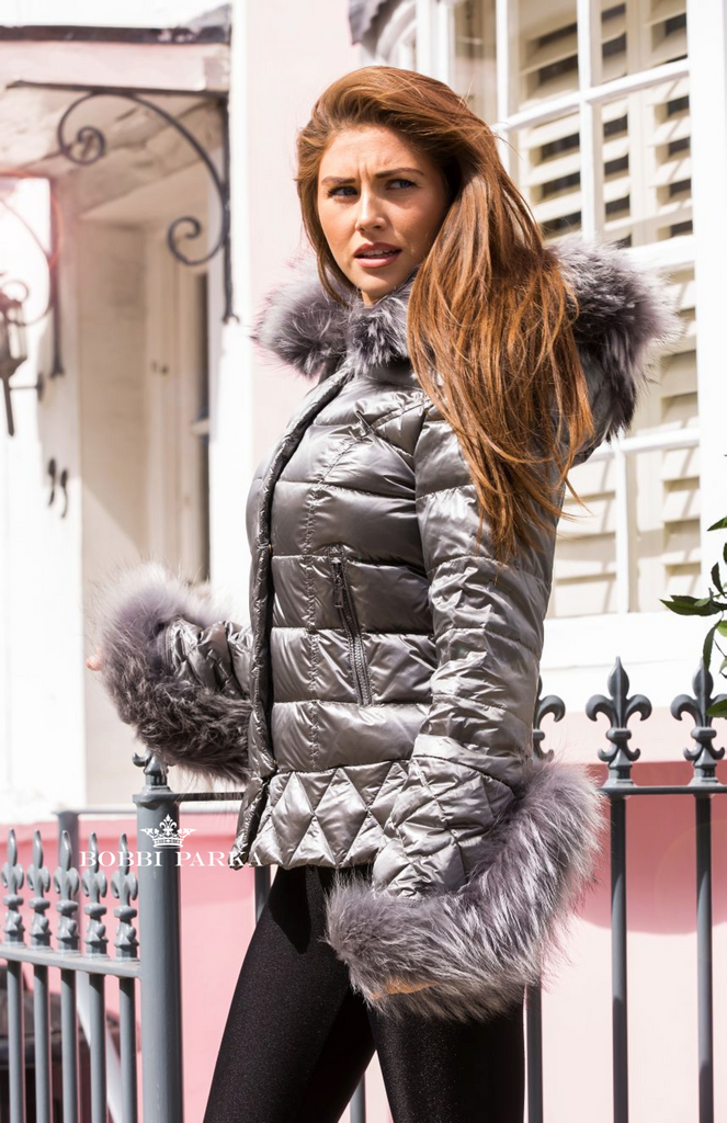 8ee0f073d Silver Quilted Down Jacket Oversized Fur Hood