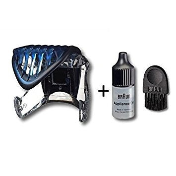 BRAUN 81327788 Hair Comb Trimmer Attachment Black 5417 5418 with Braun Cleaning Brush and Braun Appliance Oil