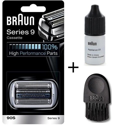 Braun 90S Series 9 Shaver Head Cassette Replacement with Brush and Oil