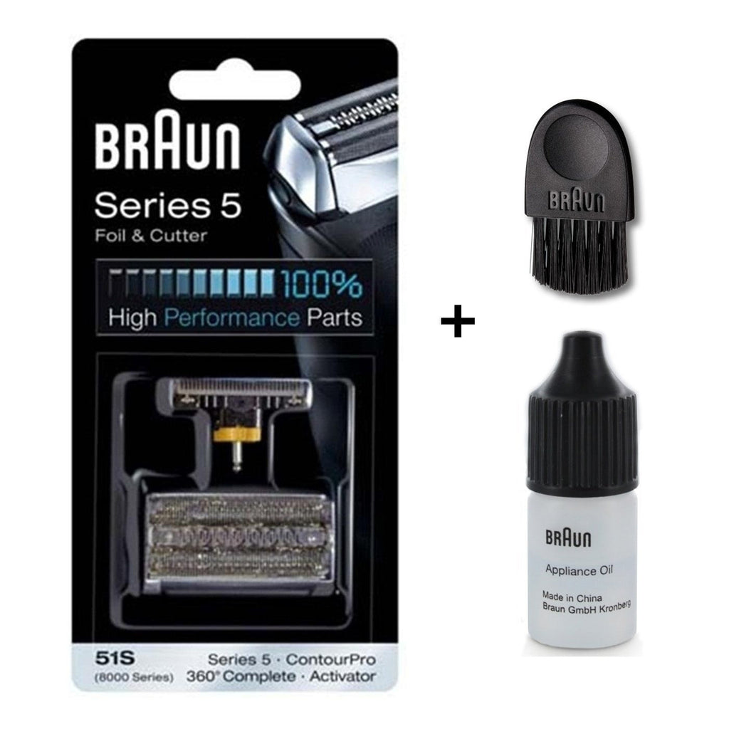 Braun 51 S Series 5 Replacement Foil & Cutter Cartridge Cassette Pack with Braun Cleaning Brush and Braun Appliance Oil
