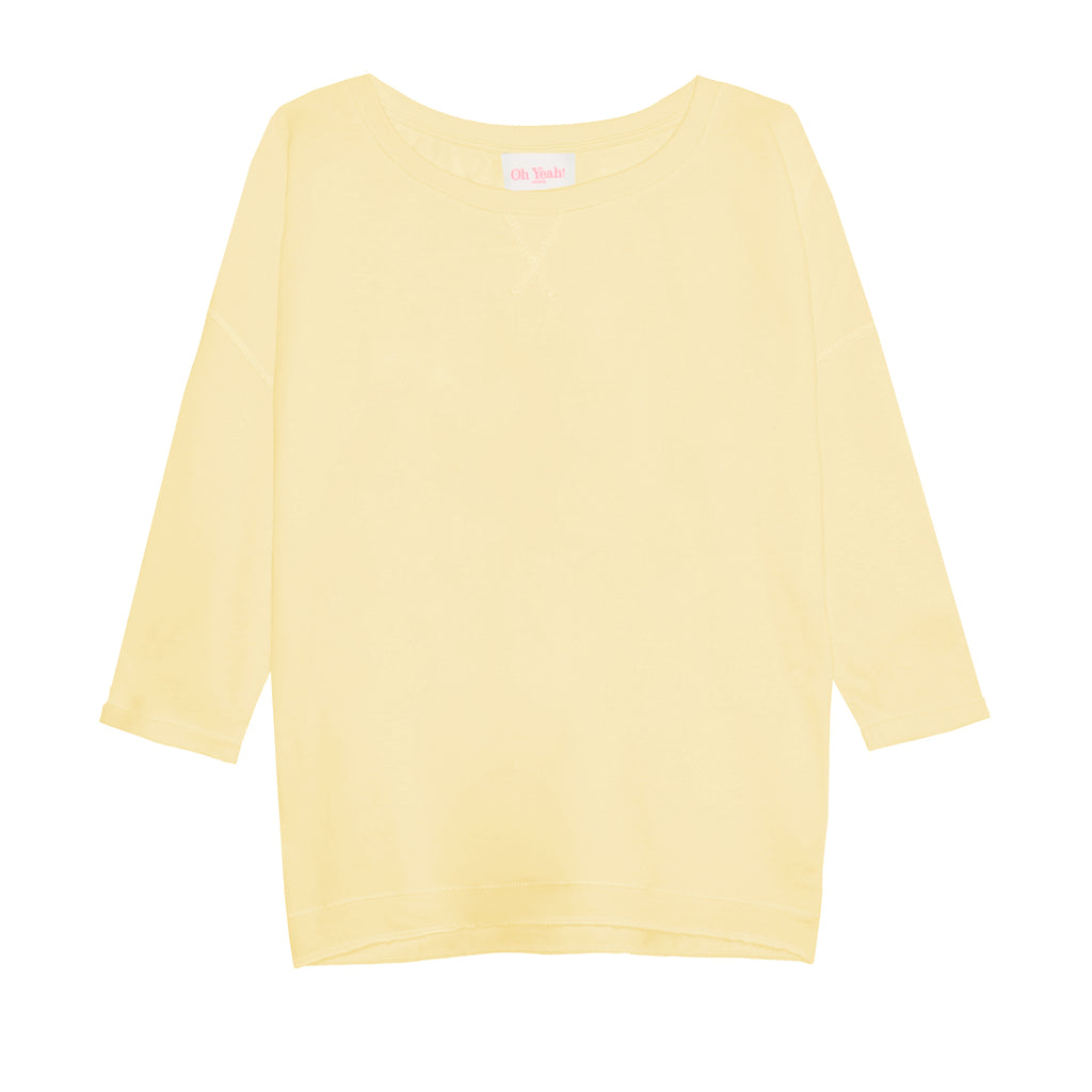 damenpullover gelb yellow zitronengelb sweater loose fit lockerer schnitt oh yeah womens sweater supersoft weiche baumwolle