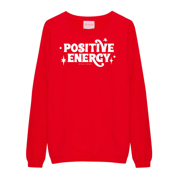 positive energy positive energy oh yeah berlin clothing fairfashion bling glitzer glitter red sweater rot