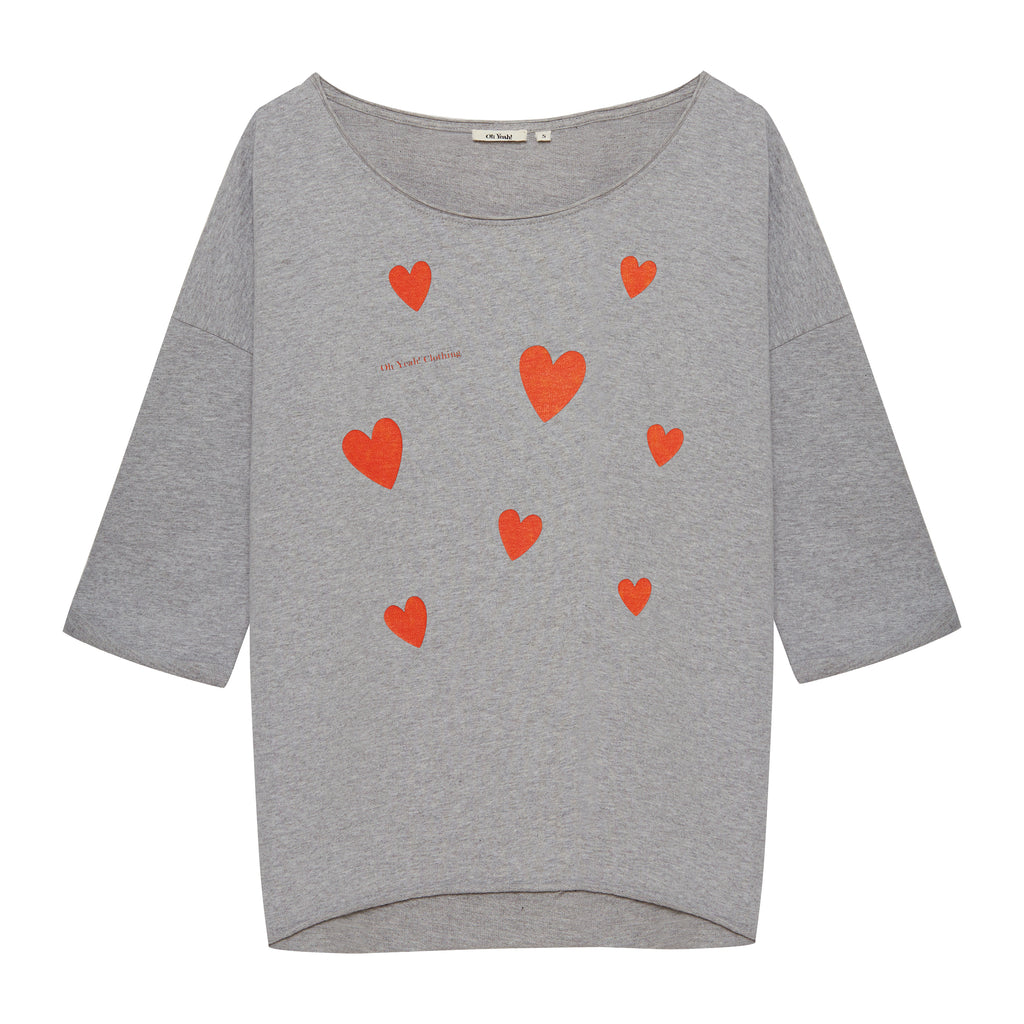grauer damen pullover mit herzen druck hearts print women sweater grey oh yeah clothing made in portugl