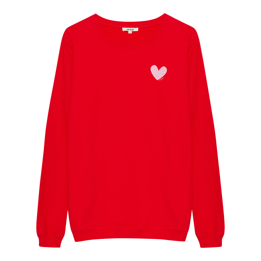roter damen basic sweater pullover herz ladies women girls oh yeah made in portugal baumwolle small heart print