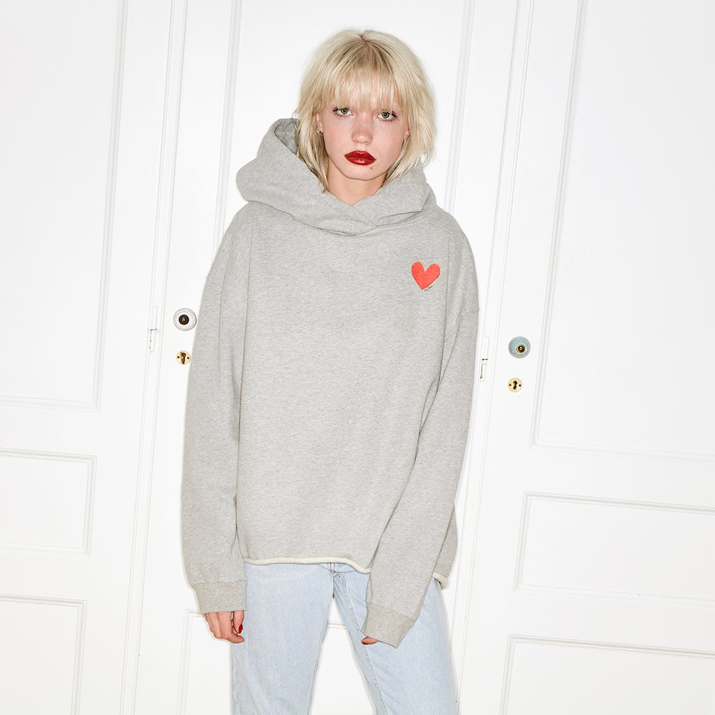 herz hoodie grau damen  grey pullover kapuzen pulli grau herz love oh yeah  small heart women ladies girls