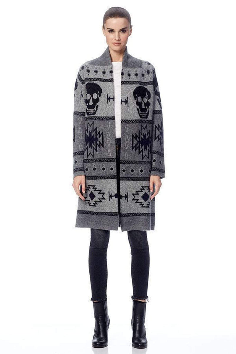 360 Cashmere/Skull Cashmere Sweater Small / Black/Navy/Heather Grey / 99600 Willa Skull Cardigan