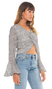 4SI3NNA Tops Blouse Arielle Knotted Crop Top White/Black