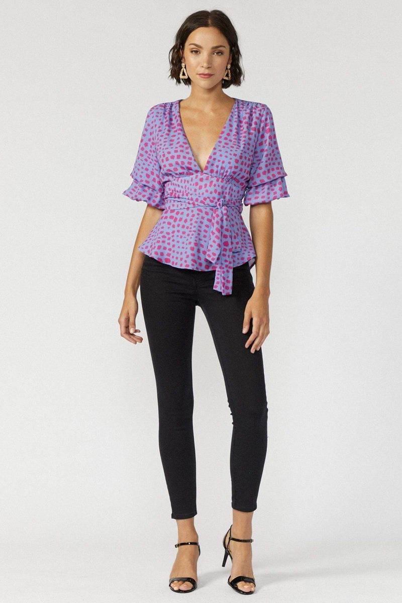Adelyn Rae Tops Blouse Lorna Blouse Periwinkle
