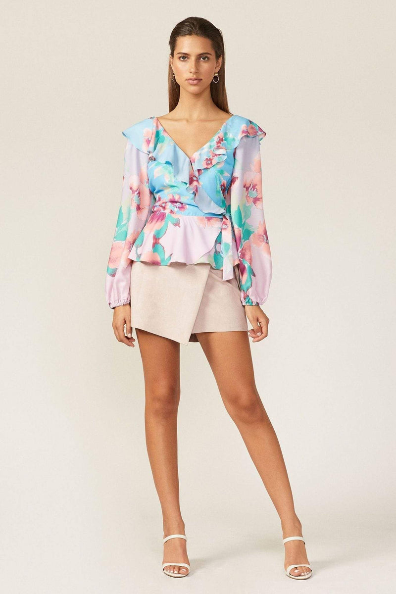 Adelyn Rae Tops Blouse X Small / Crystal Blue / F201T1787 Maisy Blouse Crystal Blue