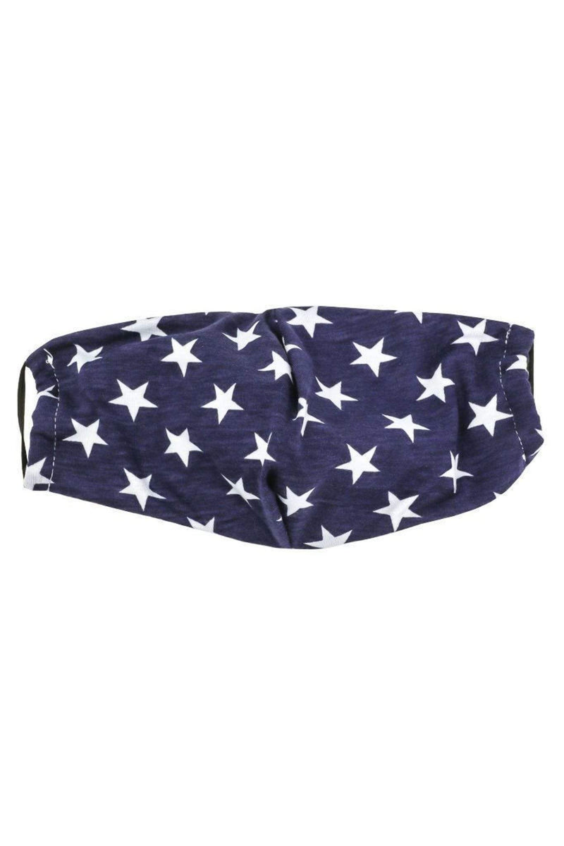Almost Famous Accessories Accessories One Size / Blue Multi / MASKL15-BLUE Star Face Mask Blue Multi