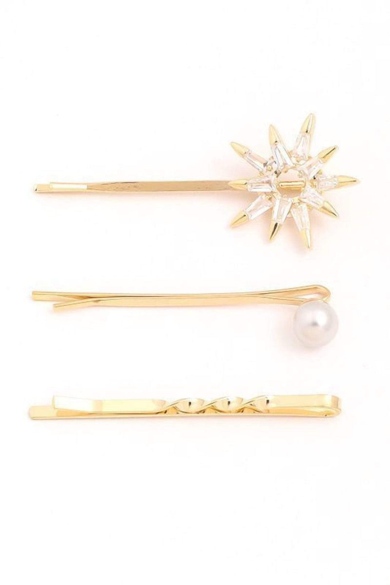 Almost Famous Accessories Accessories One Size / Gold / KH2467-G North Star Bobby Hair Pin Set Gold