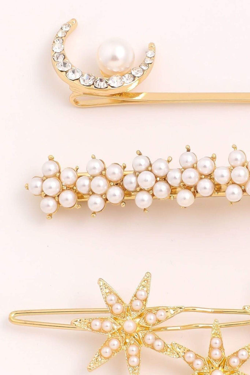Almost Famous Accessories Accessories One Size / Gold / MMH7043-GOLD Star Pearl Hair Pin Set Gold