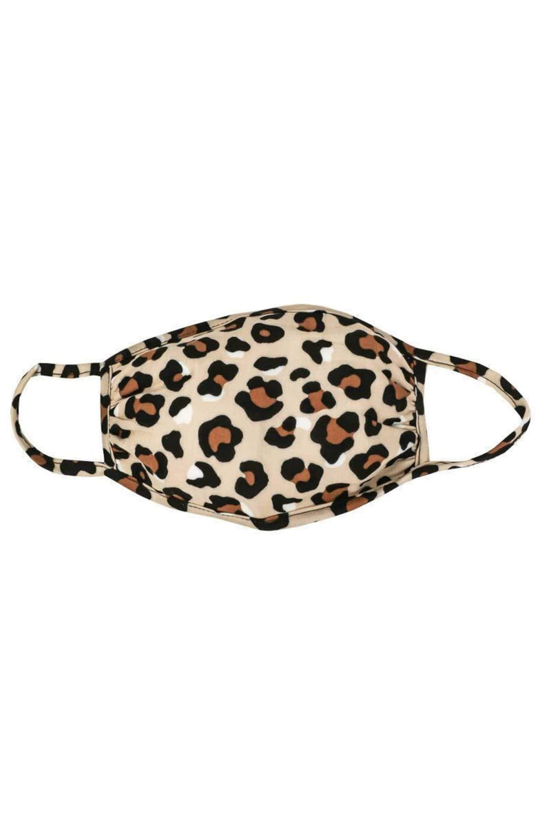 Almost Famous Accessories Accessories One Size / Multi / MASKDANLEO-WHITE Leopard Face Mask Multi