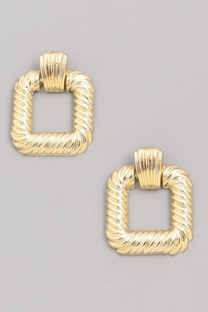 Peg Open Square Drop Earrings Gold