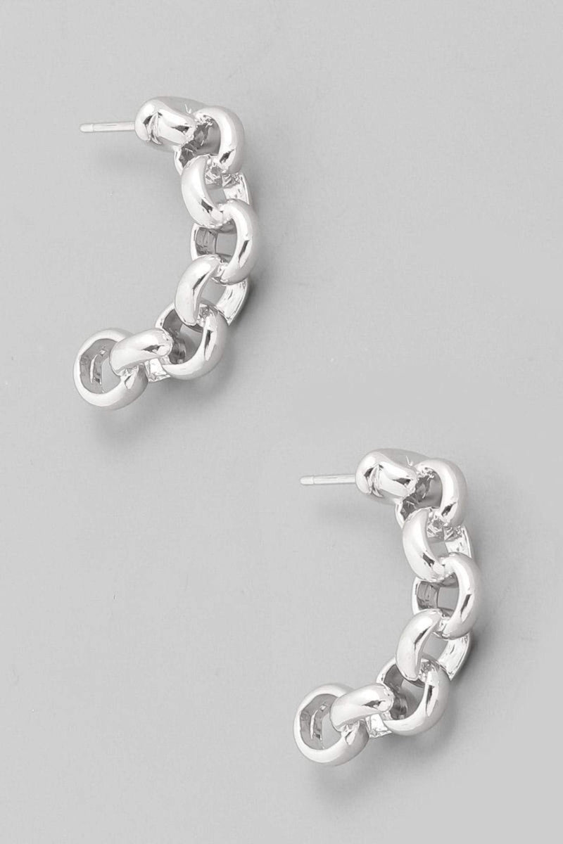 Almost Famous Accessories Earring One Size / Silver / KE2276-S Mini Chain Link Earrings Silver