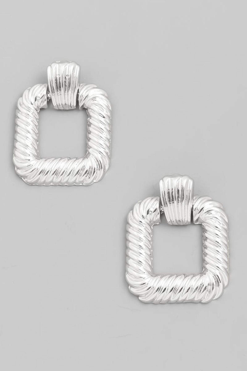 Peg Open Square Drop Earrings Silver