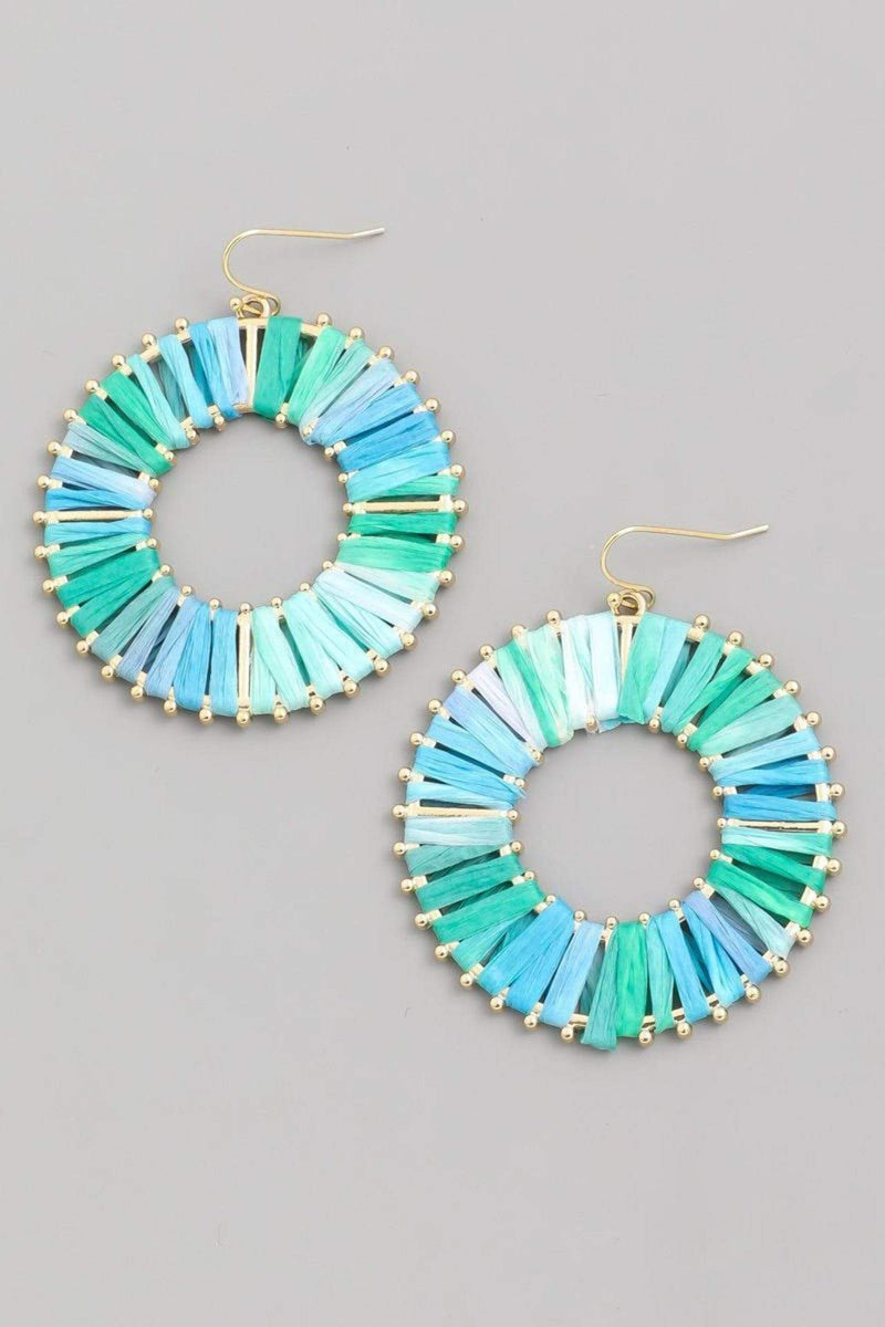 Almost Famous Accessories Earring One Size / Turquoise / 26420CR-TURQUOISE Marta Raffia Hoop Turquoise