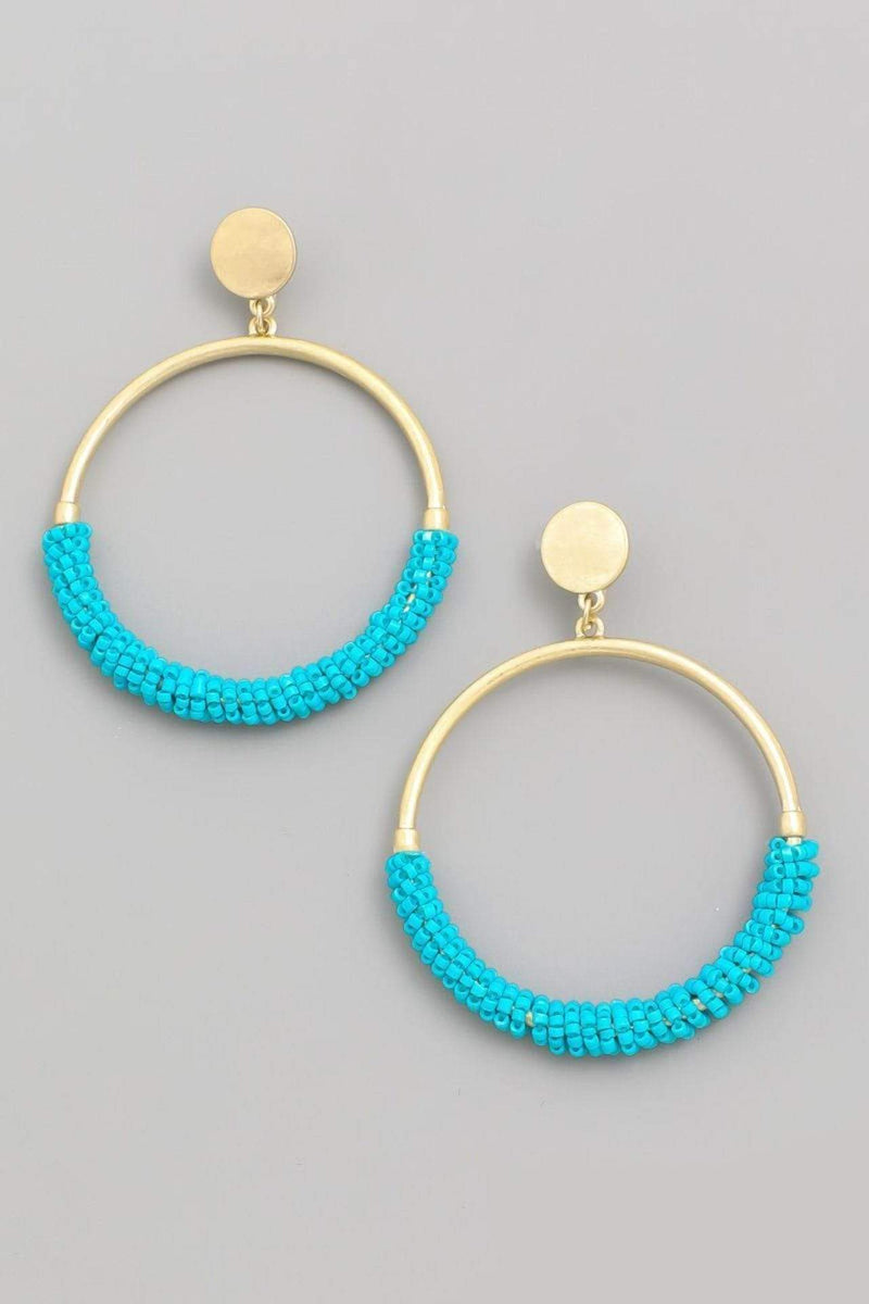 Almost Famous Accessories Earring One Size / Turquoise / MSE1883-TURQUOISE Finley Beaded Circle Hoop Drop Earrings Turquoise
