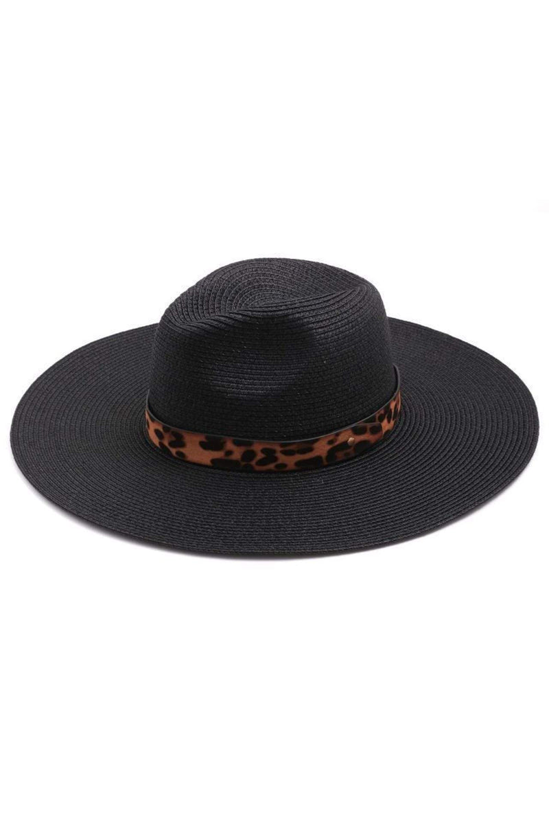 Almost Famous Accessories Hat One Size / Black / MMT6495-BK Calvin Leopard Ribbon Straw Hat Black