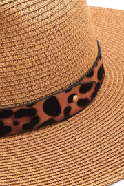 Almost Famous Accessories Hat One Size / Tan / MMT6495-TA Calvin Leopard Ribbon Straw Hat Tan