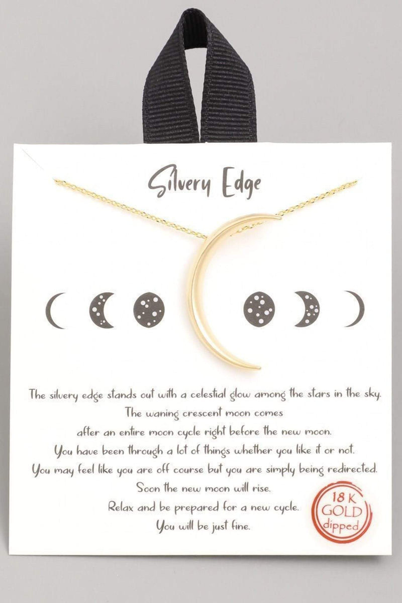 Silvery Edge Crescent Moon Necklace 18k Gold