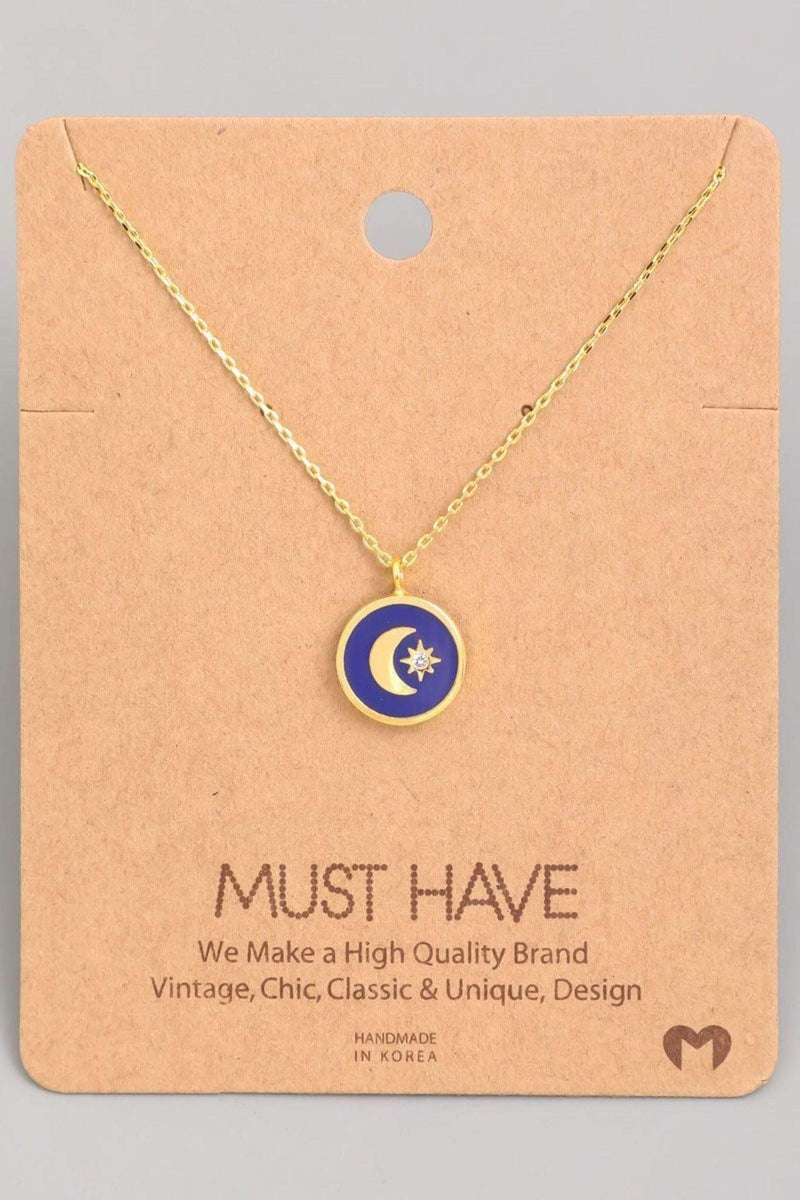 Mini Moon Coin Pendant Necklace Blue