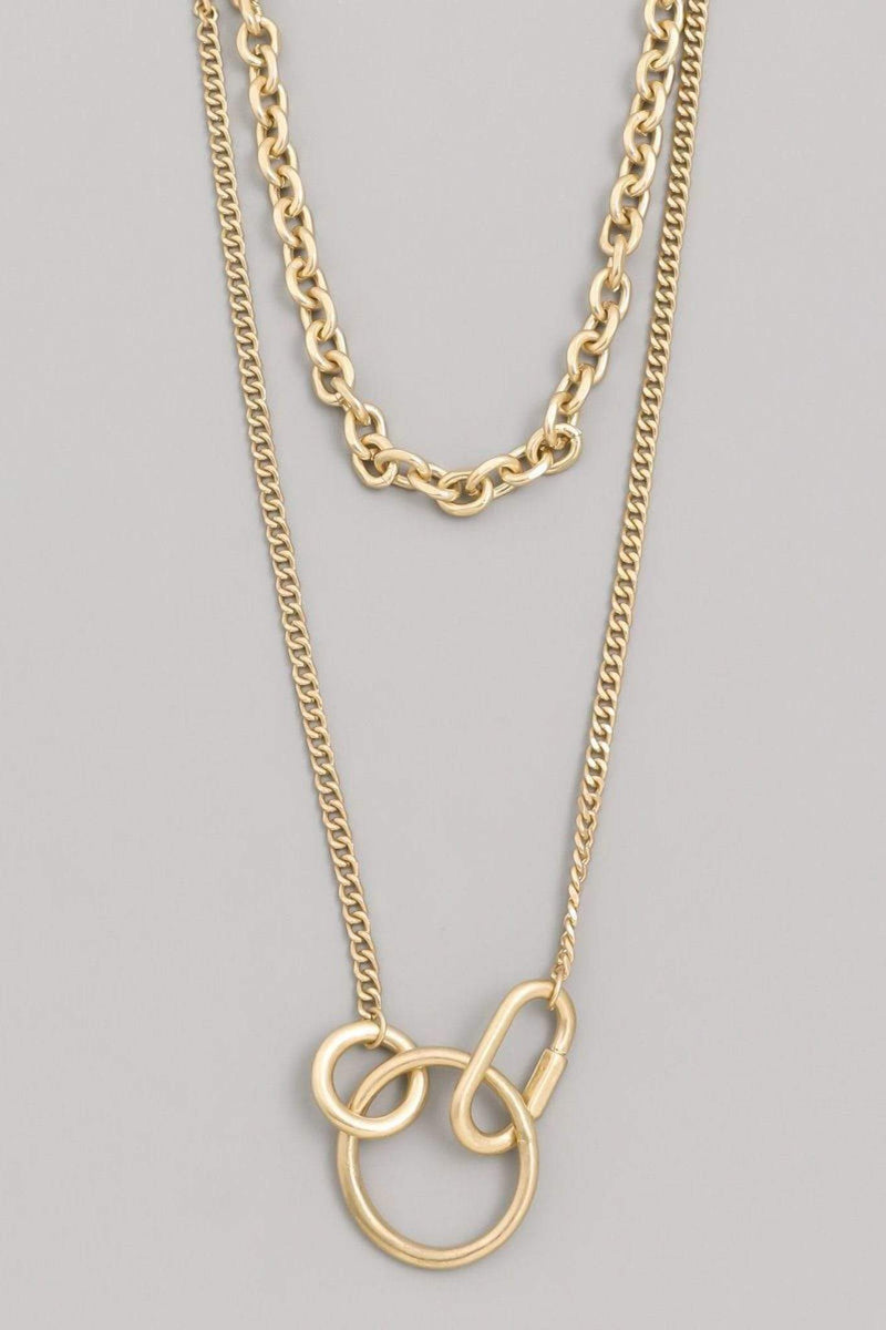 Almost Famous Accessories Necklace One Size / Gold / GAN1591-GOLD Chain Charm Layered Necklace Gold