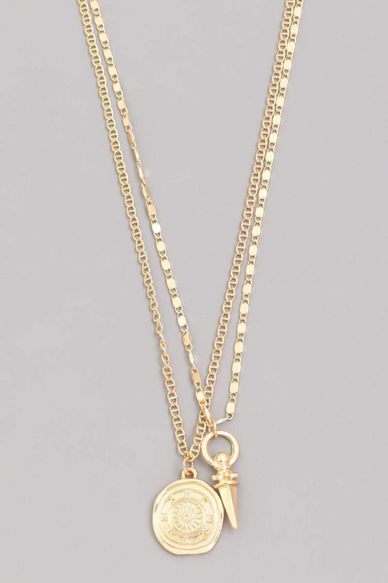 Almost Famous Accessories Necklace One Size / Gold / MMN6611-G Alexei Layered Chain Coin Necklace Gold