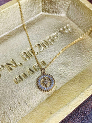 Almost Famous Accessories Necklace One Size / Gold / NN2264-G Mini Compass Diamond Necklace Gold