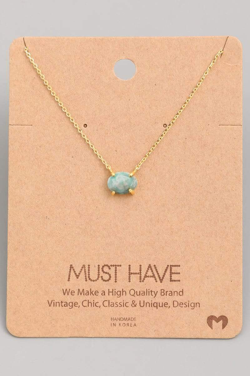 Almost Famous Accessories Necklace One Size / Mint / NN2601-MI Lily Semi Precious Stone Charm Necklace Mint