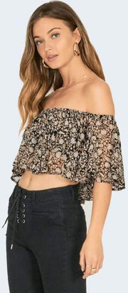 Amuse Tops Blouse Let's Flounce Top Black