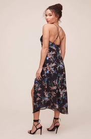 ASTR Dress Gaia Floral Midi Dress Black Multi