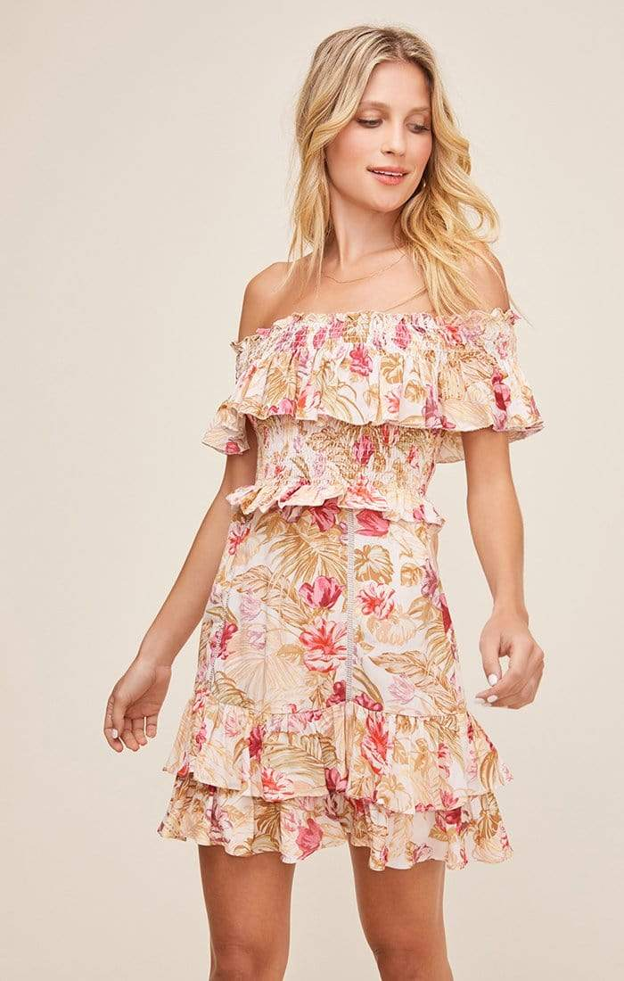 ASTR Dress Riviera Dress Rose Olive Tropical Floral