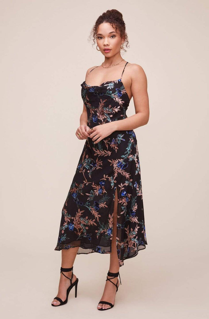 ASTR Dress X Small / Black Multi / ACDR100133BS Gaia Floral Midi Dress Black Multi