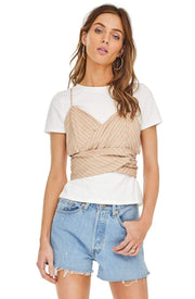 ASTR Tops Blouse Maddie Top Dusty Blush Stripe