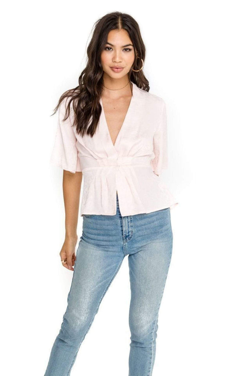 ASTR Tops Blouse Pleated V-Neck Top Pink Rosewater