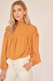 ASTR Tops Blouse X Small / Golden Hour / ACT15736 Libra Top Golden Hour