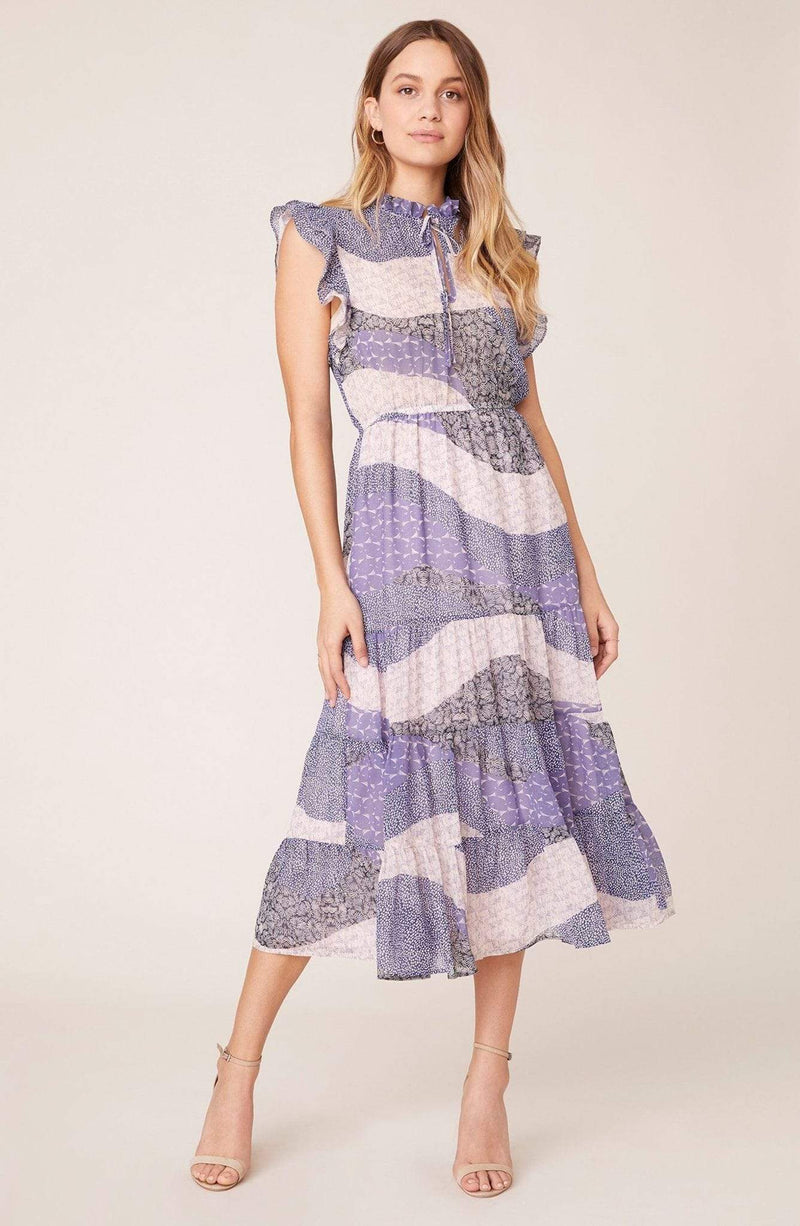 BB Dakota Dress Size 0 / Steel Lavender / BK108715 All Mixed Up Midi Dress Steel Lavender