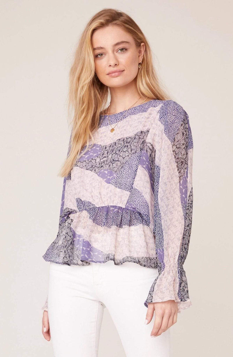 BB Dakota Tops Blouse Easy Breezy Long Sleeve Top Steel Lavender