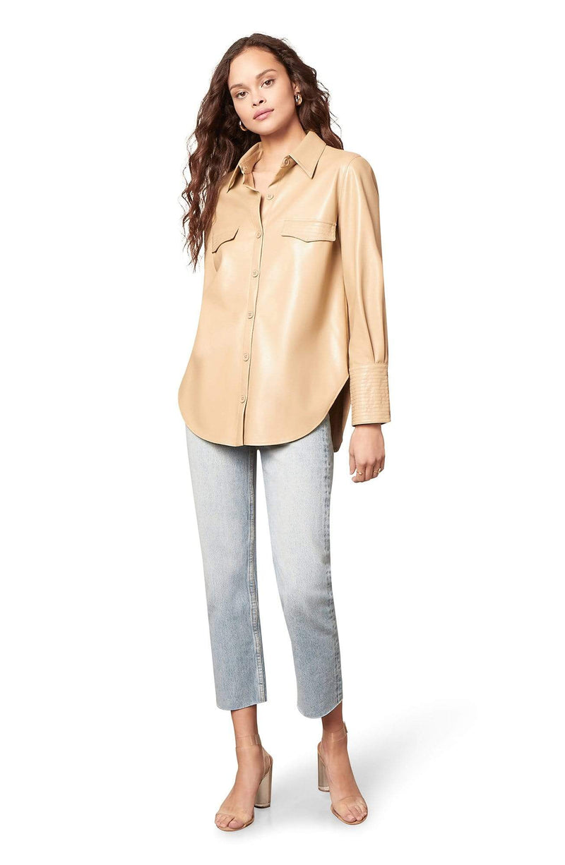 BB Dakota Tops Blouse West Intentions Vegan Leather Top Macadamia